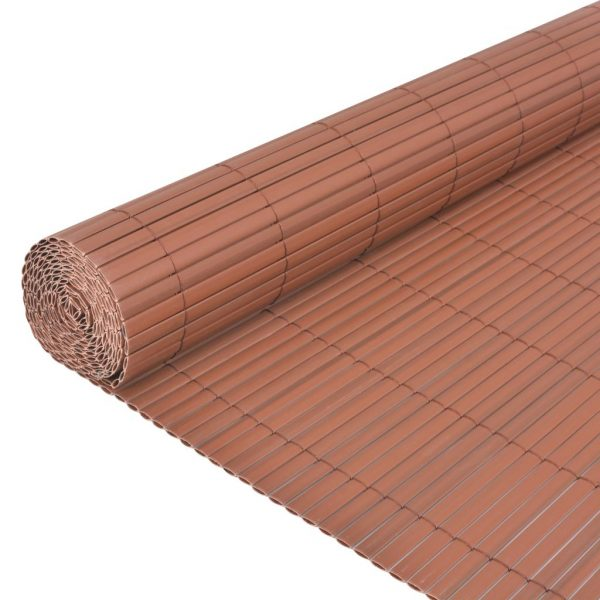 Double-Sided Garden Fence PVC 90×500 cm Brown 4