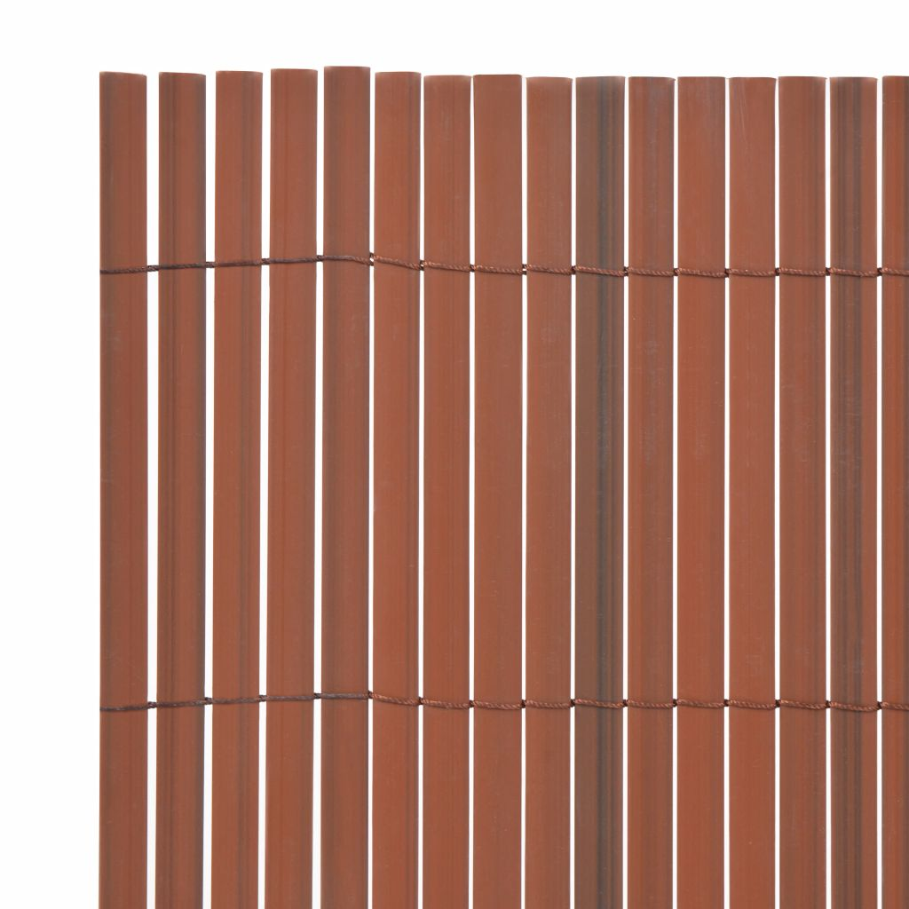 Double-Sided Garden Fence PVC 150×500 cm Brown 3