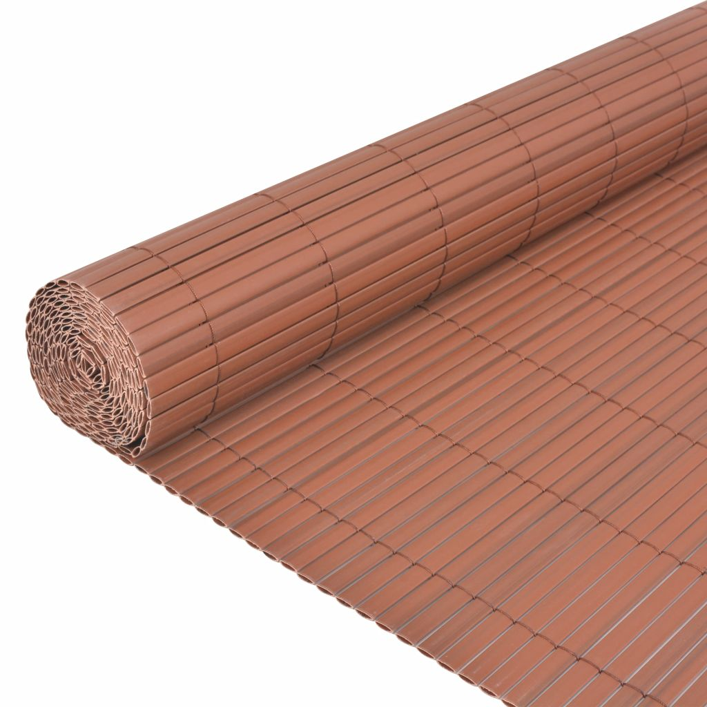 Double-Sided Garden Fence PVC 150×500 cm Brown 4