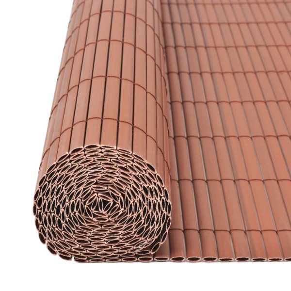 Double-Sided Garden Fence PVC 150×500 cm Brown 5