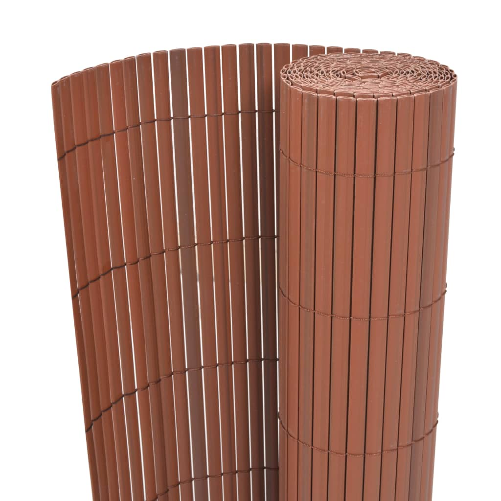 Double-Sided Garden Fence PVC 195x500 cm Brown