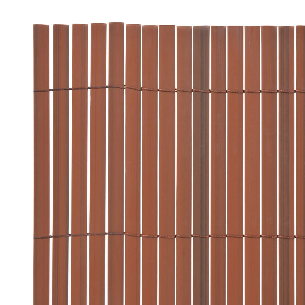 Double-Sided Garden Fence PVC 195×500 cm Brown 3