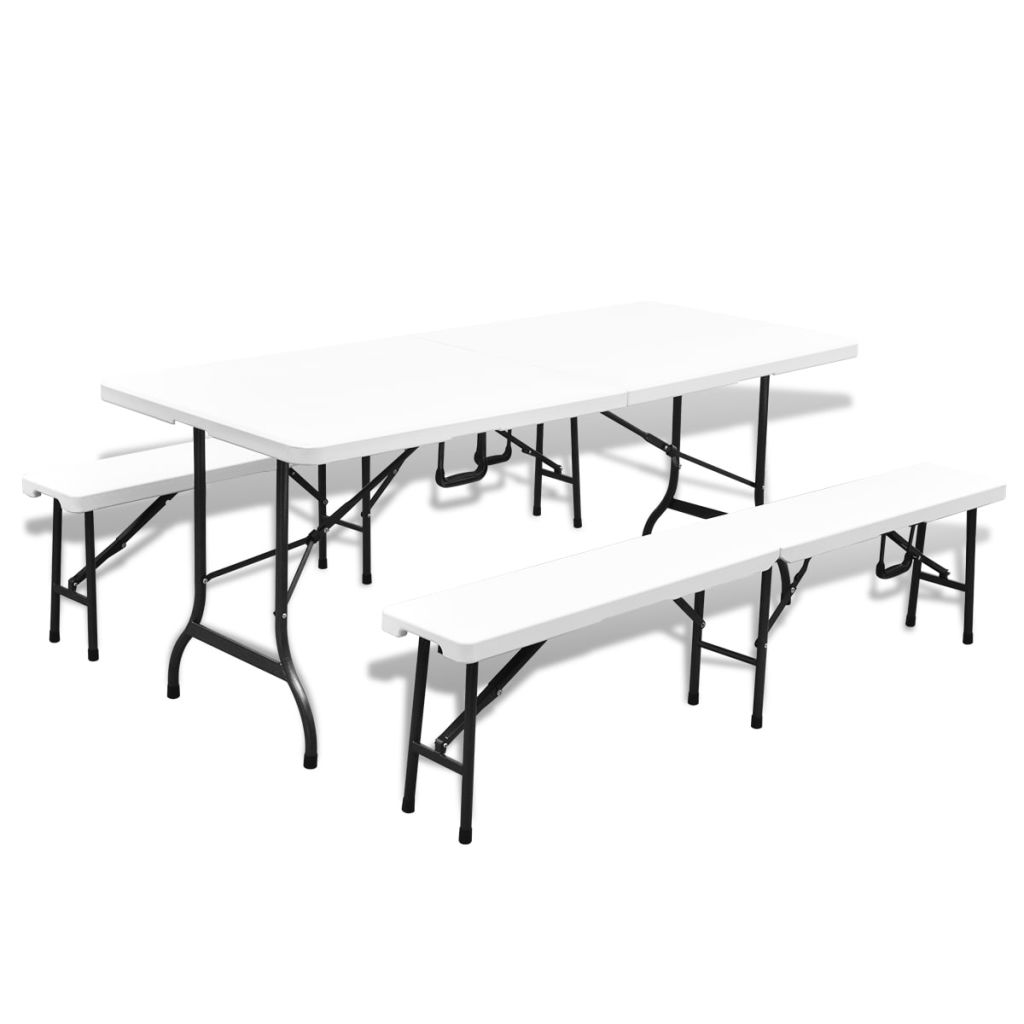 Folding Garden Table with 2 Benches 180 cm Steel and HDPE White 1
