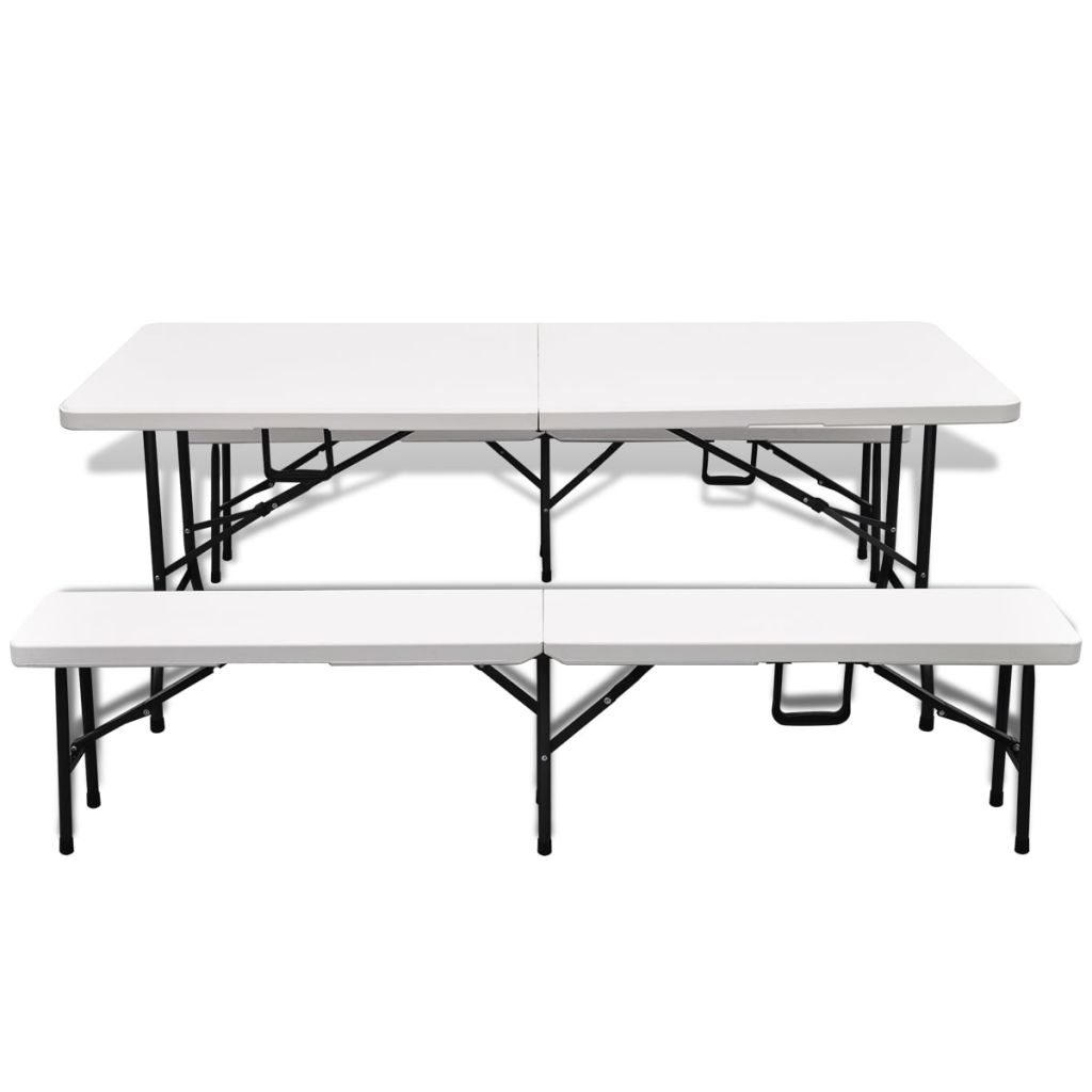 Folding Garden Table with 2 Benches 180 cm Steel and HDPE White 2