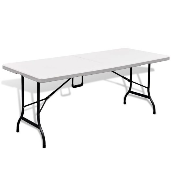 Folding Garden Table with 2 Benches 180 cm Steel and HDPE White 3