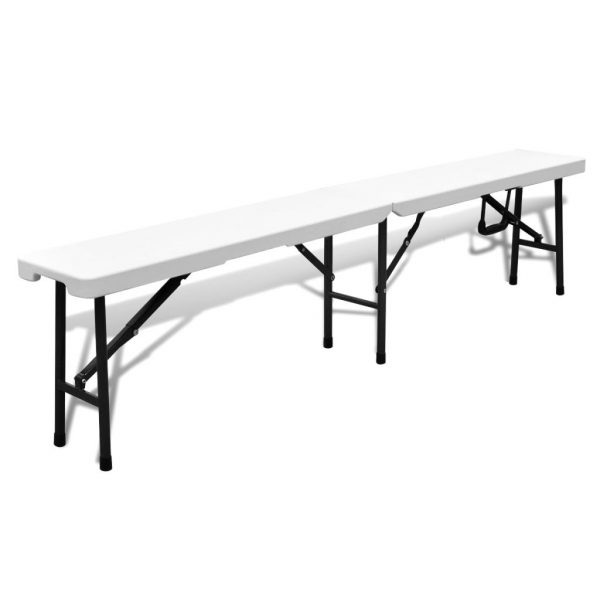 Folding Garden Table with 2 Benches 180 cm Steel and HDPE White 4