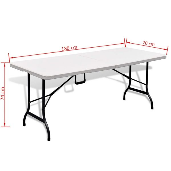Folding Garden Table with 2 Benches 180 cm Steel and HDPE White 6