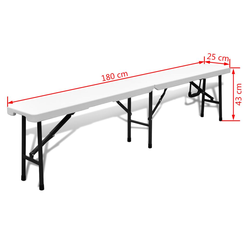 Folding Garden Table with 2 Benches 180 cm Steel and HDPE White 7