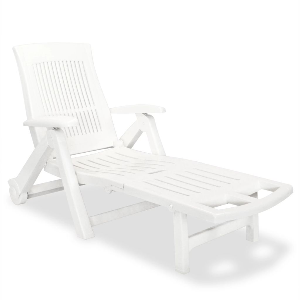 Sun Lounger with Footrest Plastic White 1
