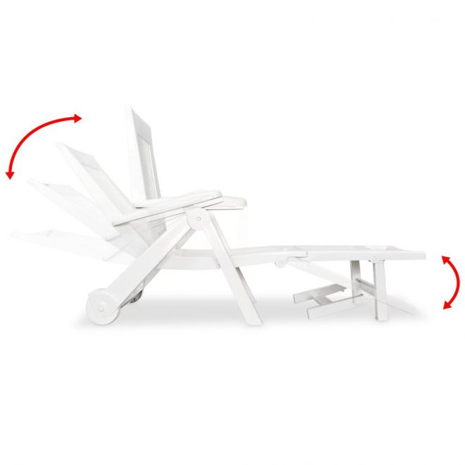 Sun Lounger with Footrest Plastic White 6