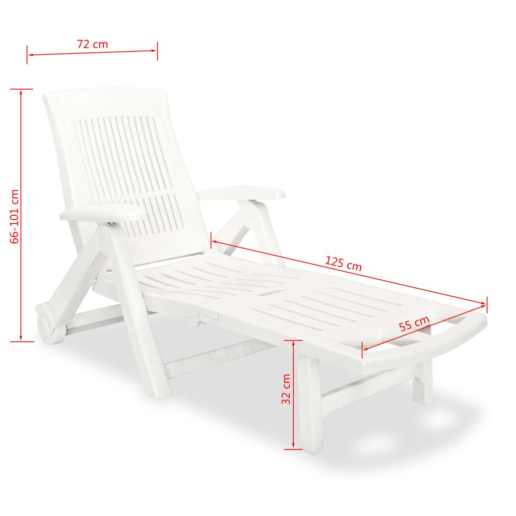 Sun Lounger with Footrest Plastic White 8