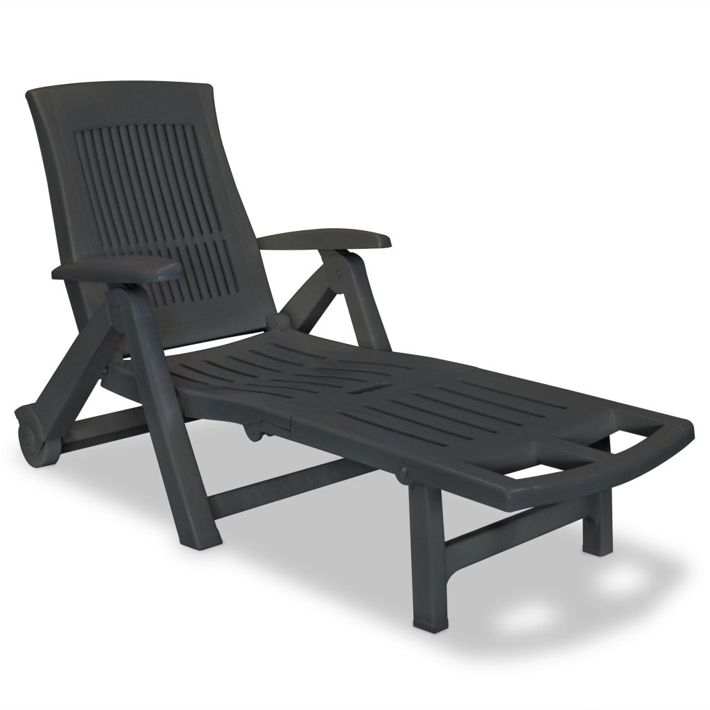 Sun Lounger with Footrest Plastic Anthracite 1