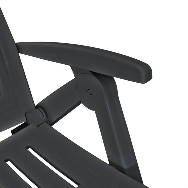Sun Lounger with Footrest Plastic Anthracite 4