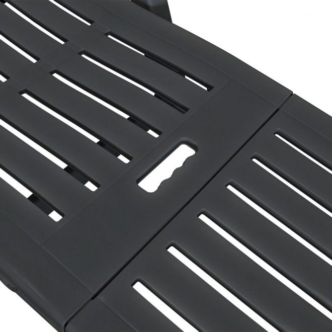 Sun Lounger with Footrest Plastic Anthracite 5