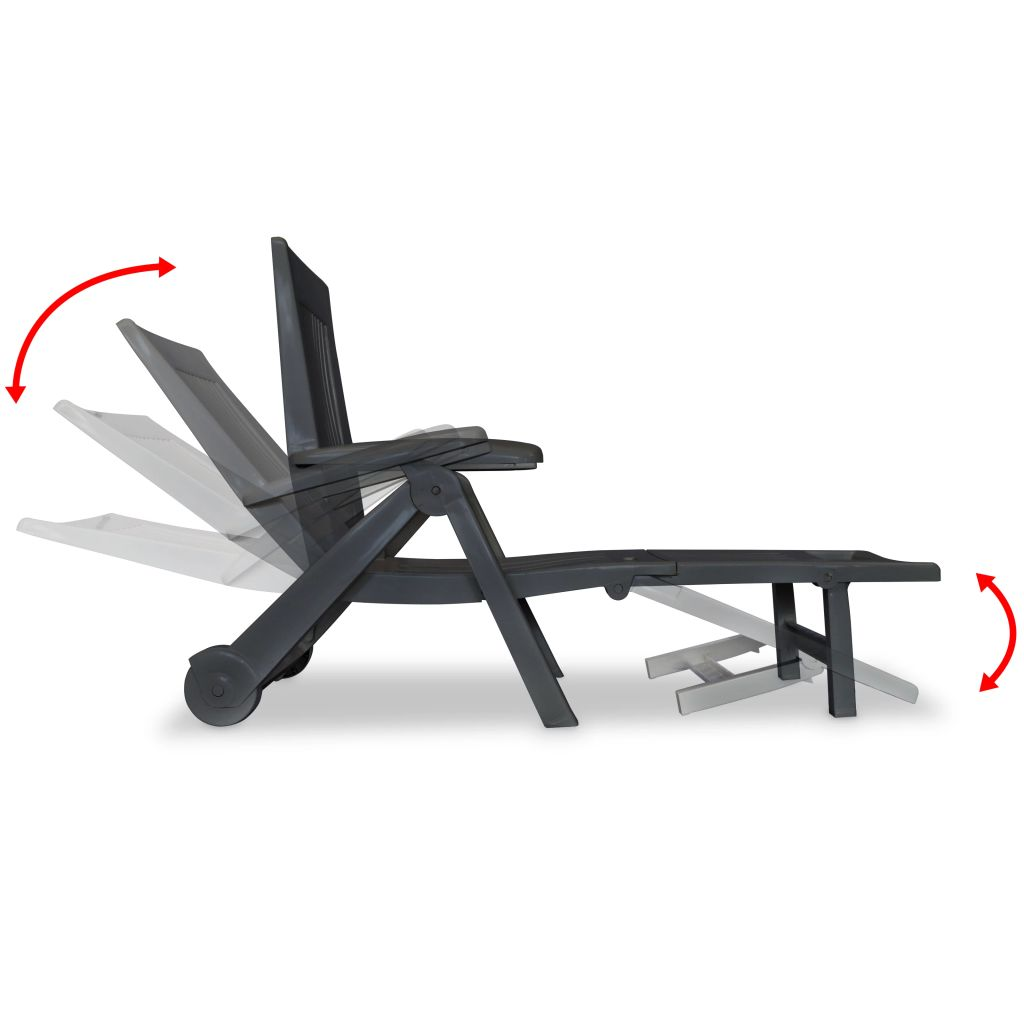 Sun Lounger with Footrest Plastic Anthracite 6