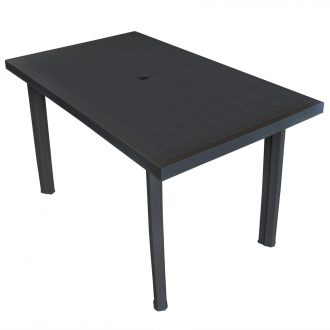 Garden Table Anthracite 126x76x72 cm Plastic 1