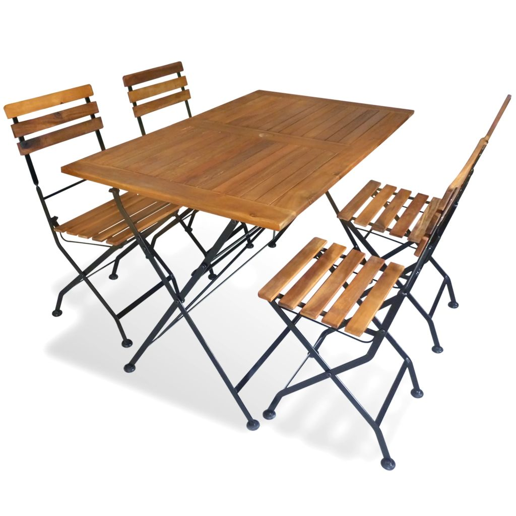 5 Piece Folding Outdoor Dining Set Solid Acacia Wood 1