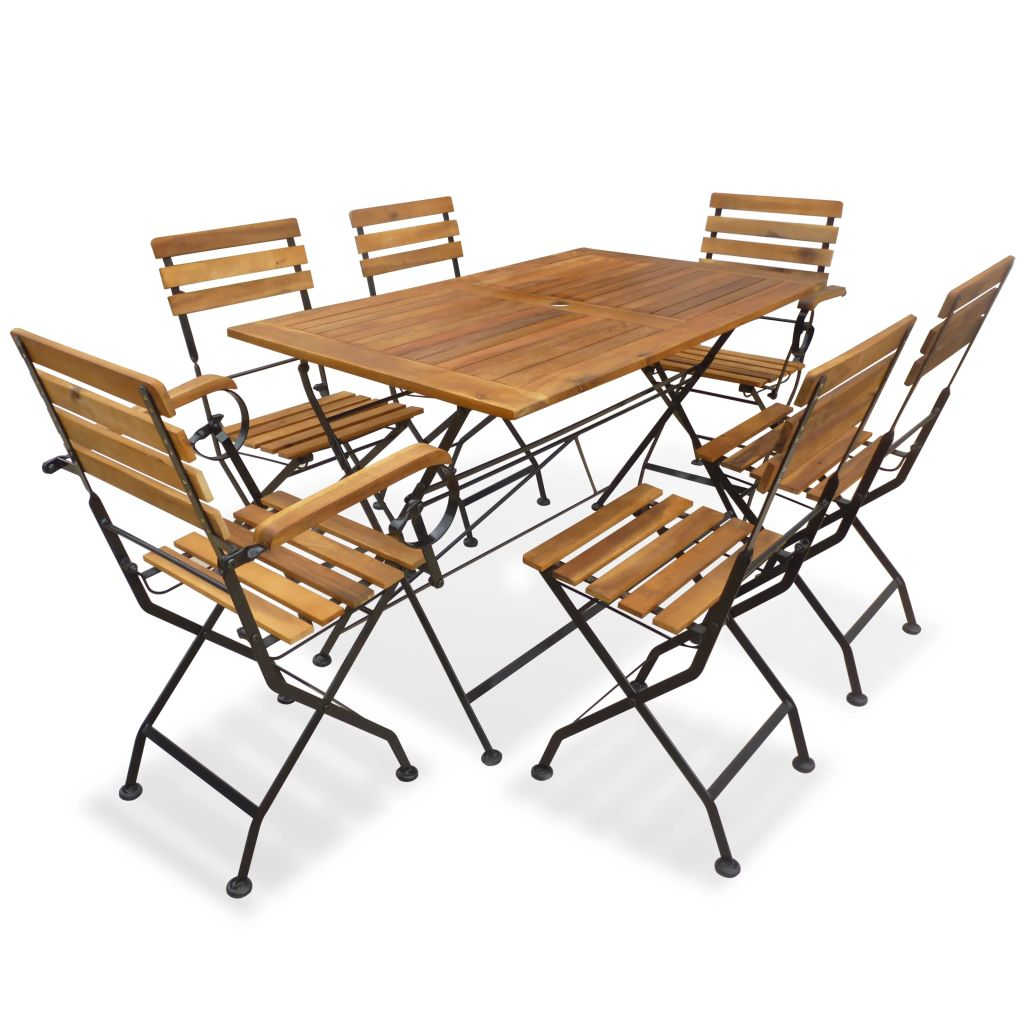 7 Piece Folding Outdoor Dining Set Solid Acacia Wood 1