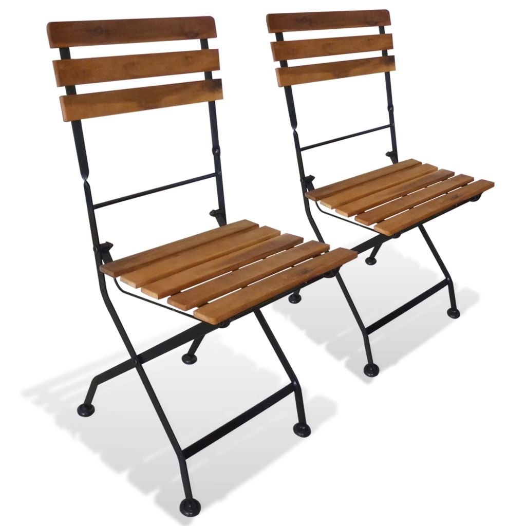 Folding Garden Chairs 2 pcs Steel and Solid Acacia Wood 1