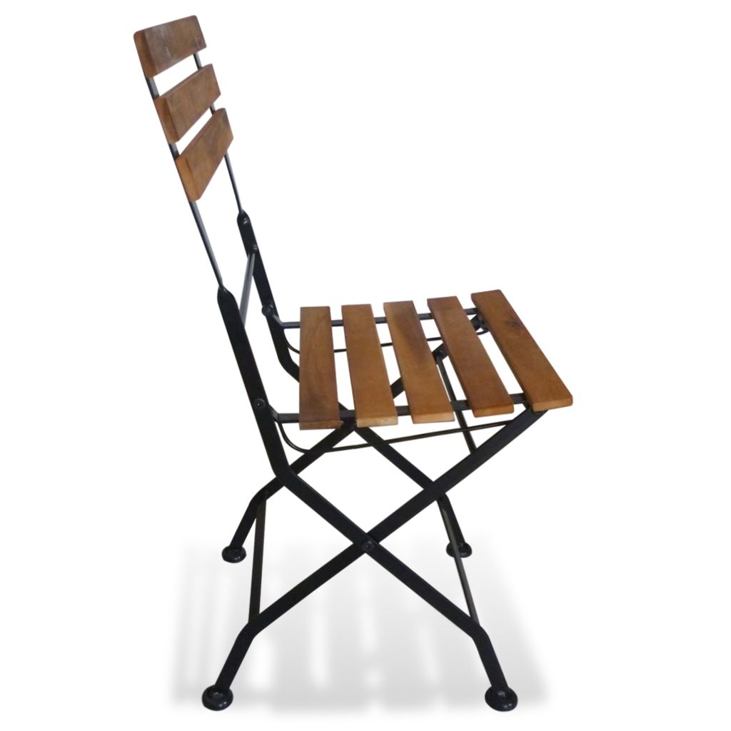 Folding Garden Chairs 2 pcs Steel and Solid Acacia Wood 4