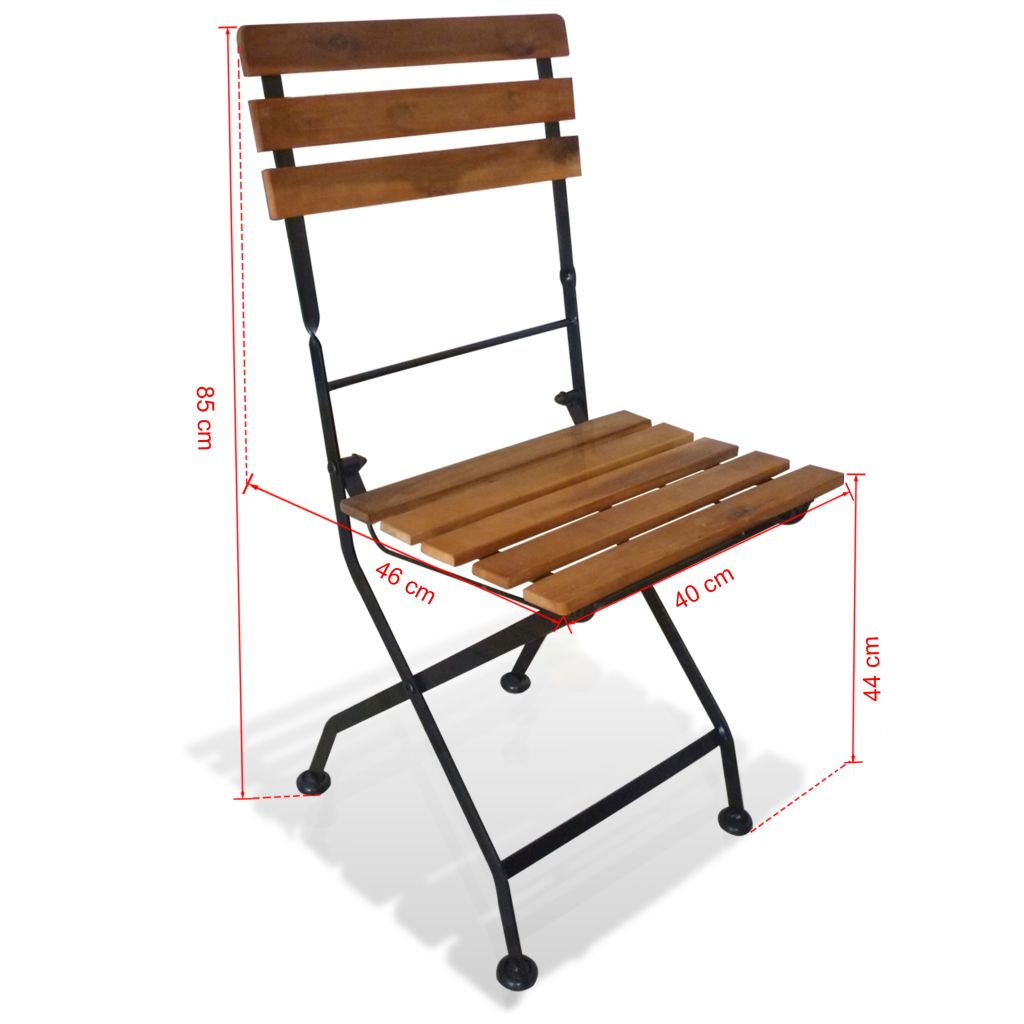 Folding Garden Chairs 2 pcs Steel and Solid Acacia Wood 7