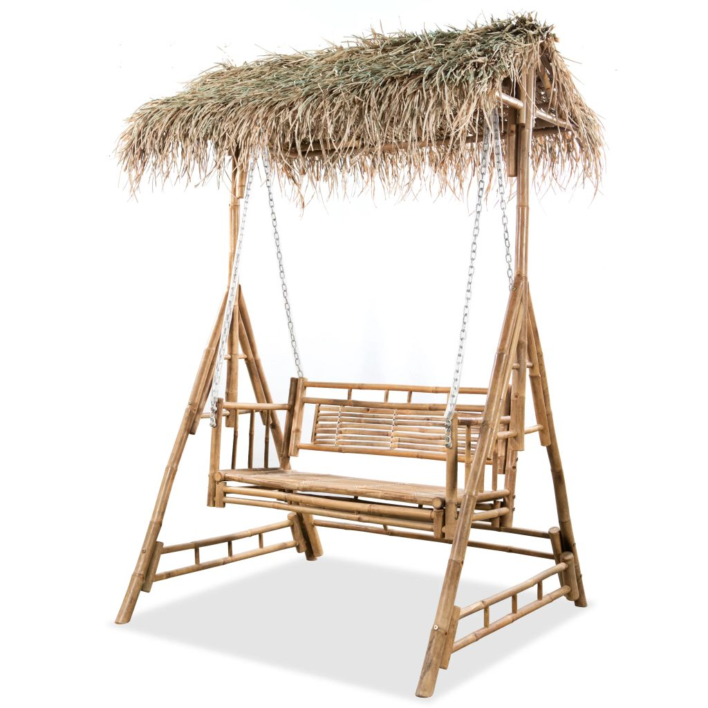 2-Seater Swing Chair with Palm Leaves Bamboo 202 cm 1