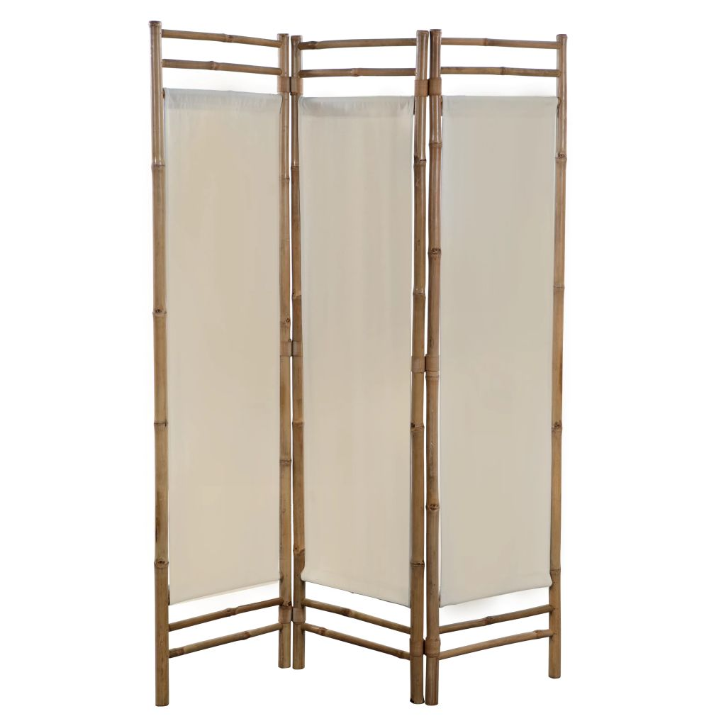 Folding 3-Panel Room Divider Bamboo and Canvas 120 cm 1
