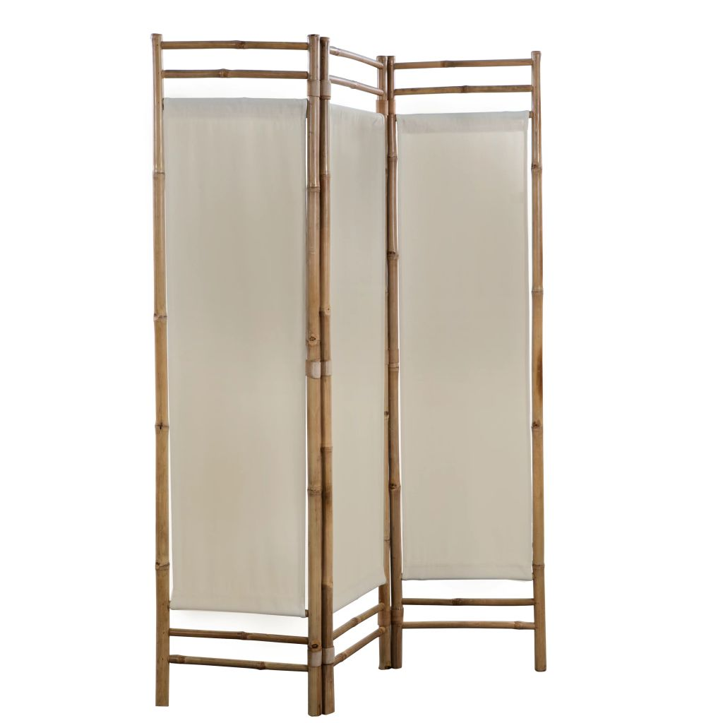 Folding 3-Panel Room Divider Bamboo and Canvas 120 cm 2