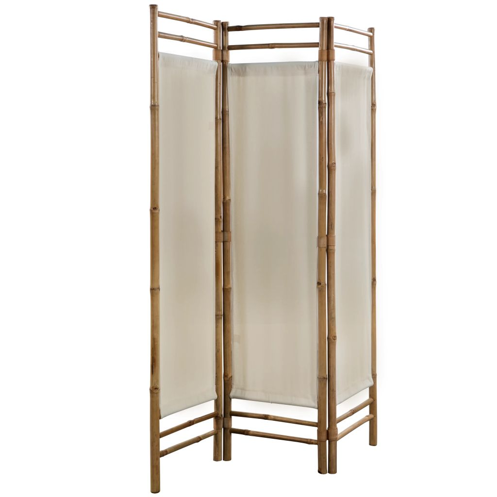 Folding 3-Panel Room Divider Bamboo and Canvas 120 cm 3