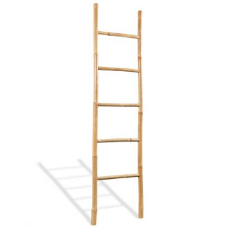 Towel Ladder with 5 Rungs Bamboo 150 cm 1
