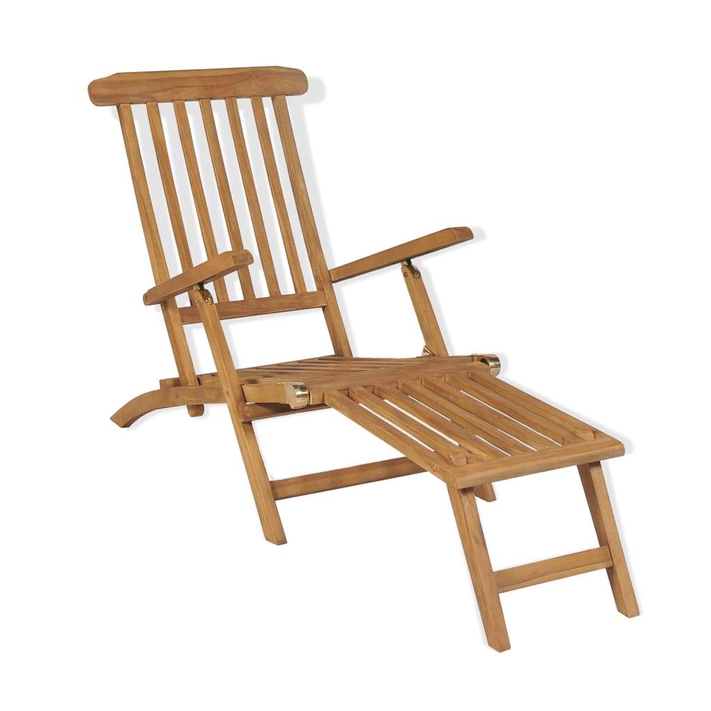 Deck Chair with Footrest Solid Teak Wood 1