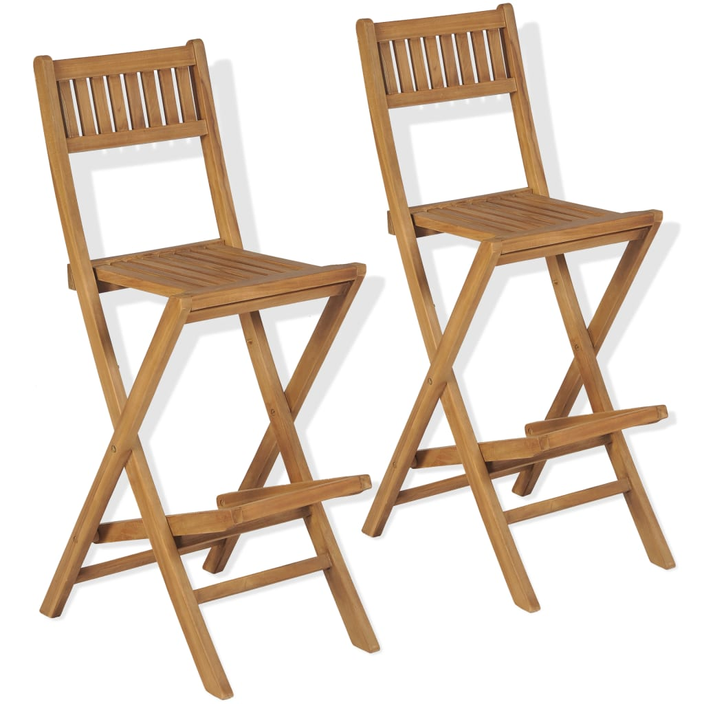 Folding Outdoor Bar Stools 2 pcs Solid Teak Wood 1