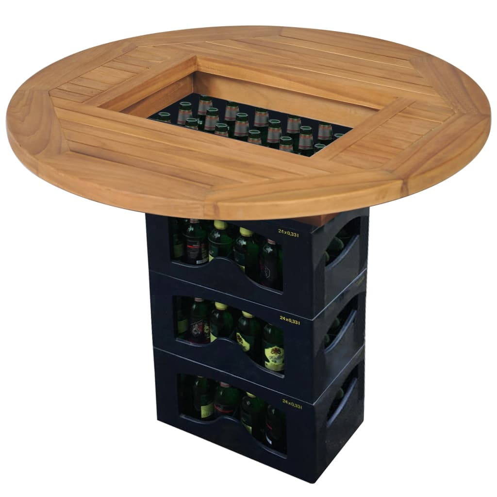 Beer Crate Tabletop Teak 70 cm