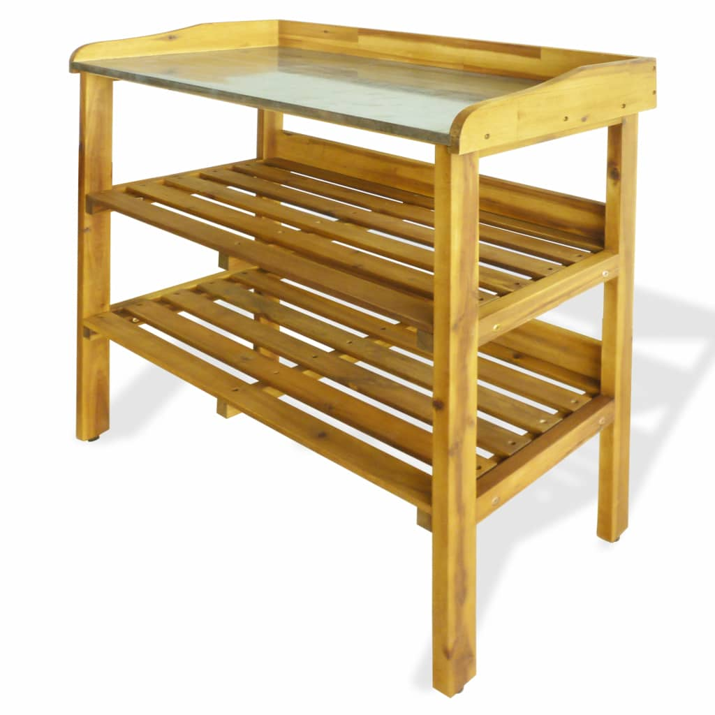 Potting Bench with 2 Shelves Solid Acacia Wood and Zinc 1
