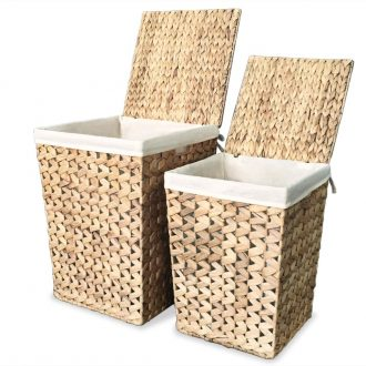 Laundry Basket Set 2 Pieces Water Hyacinth 1