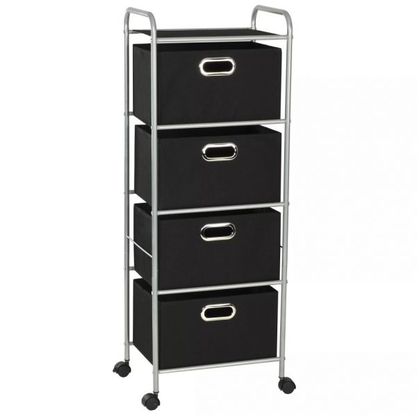 Shelving Unit with 4 Storage Boxes Steel and Non-woven Fabric 1