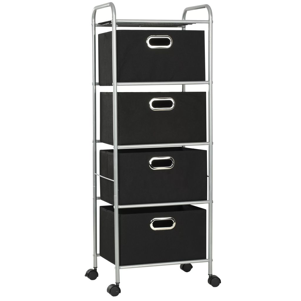 Shelving Unit with 4 Storage Boxes Steel and Non-woven Fabric 2