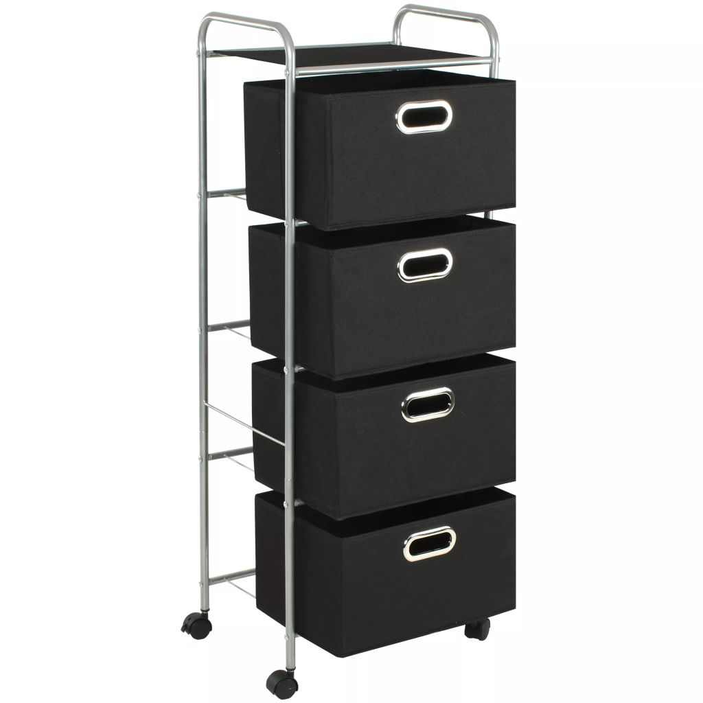 Shelving Unit with 4 Storage Boxes Steel and Non-woven Fabric 3