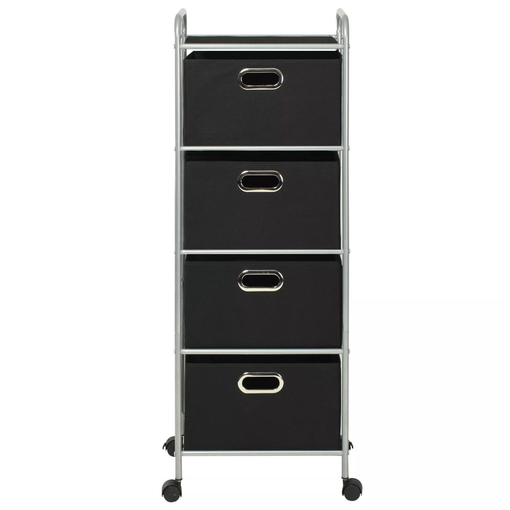 Shelving Unit with 4 Storage Boxes Steel and Non-woven Fabric 4