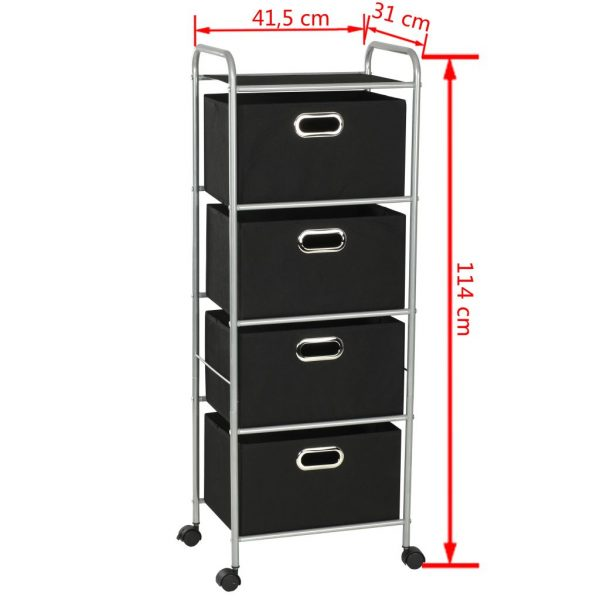 Shelving Unit with 4 Storage Boxes Steel and Non-woven Fabric 7