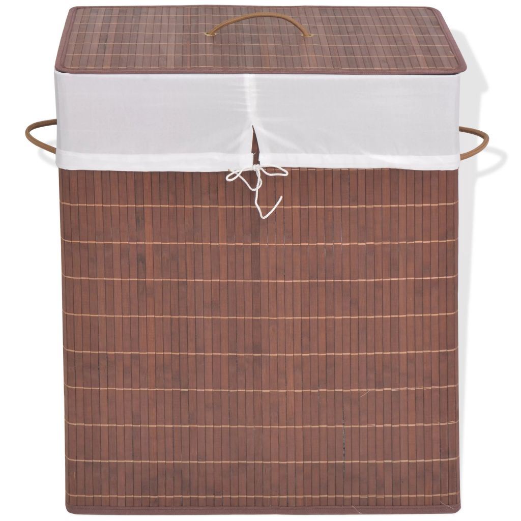 Bamboo Laundry Bin Rectangular Brown 1