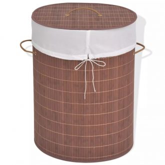 Bamboo Laundry Bin Oval Brown 1