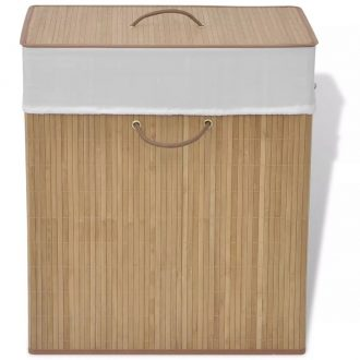 Bamboo Laundry Bin Rectangular Natural 1