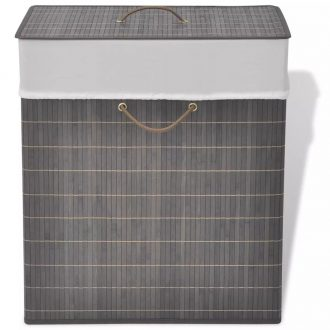 Bamboo Laundry Bin Rectangular Dark Brown 1
