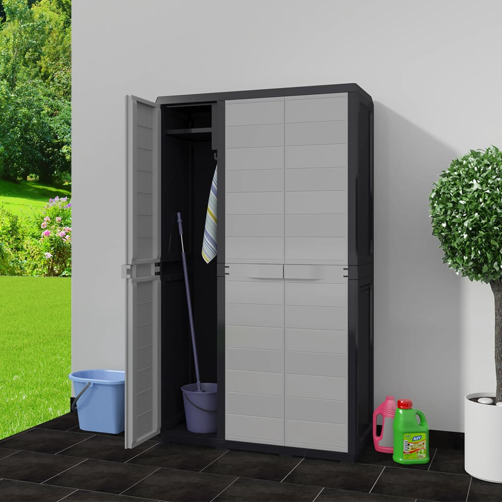 Garden Storage Cabinet with 4 Shelves Black and Grey 2