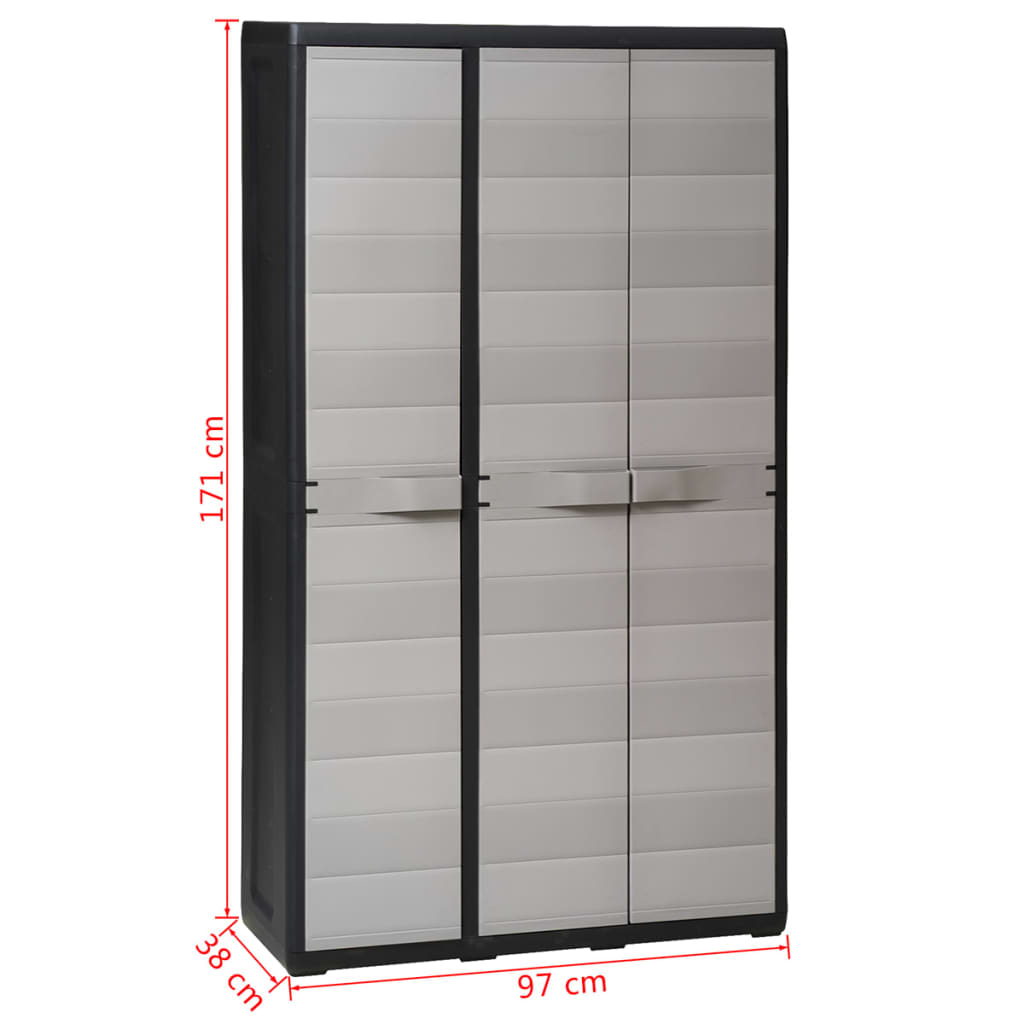 Garden Storage Cabinet with 4 Shelves Black and Grey 11