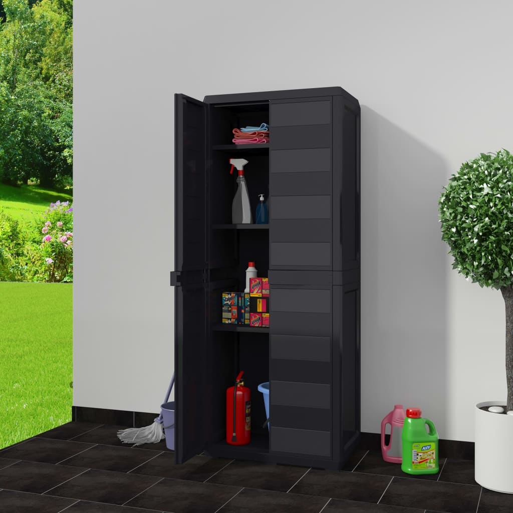 Garden Storage Cabinet with 3 Shelves Black 2