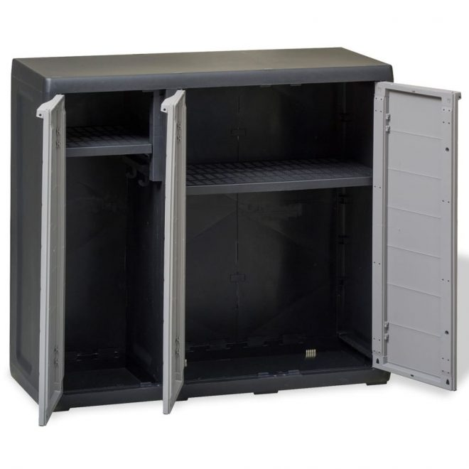 Garden Storage Cabinet with 2 Shelves Black and Grey 6