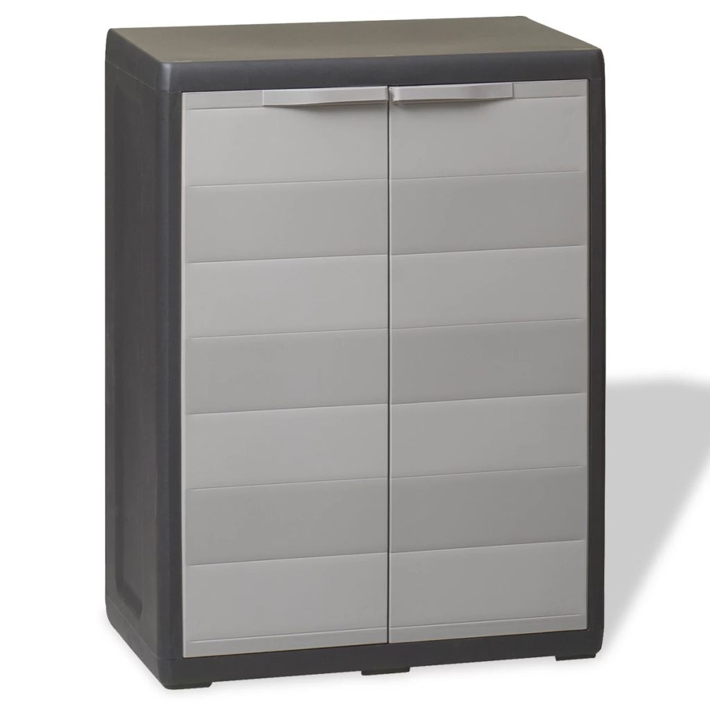 Garden Storage Cabinet with 1 Shelf Black and Grey 1