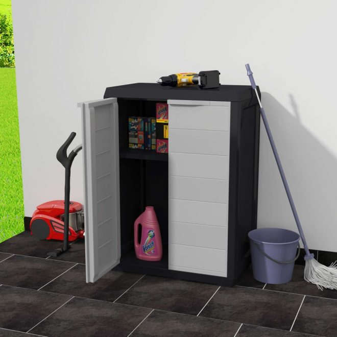 Garden Storage Cabinet with 1 Shelf Black and Grey 2